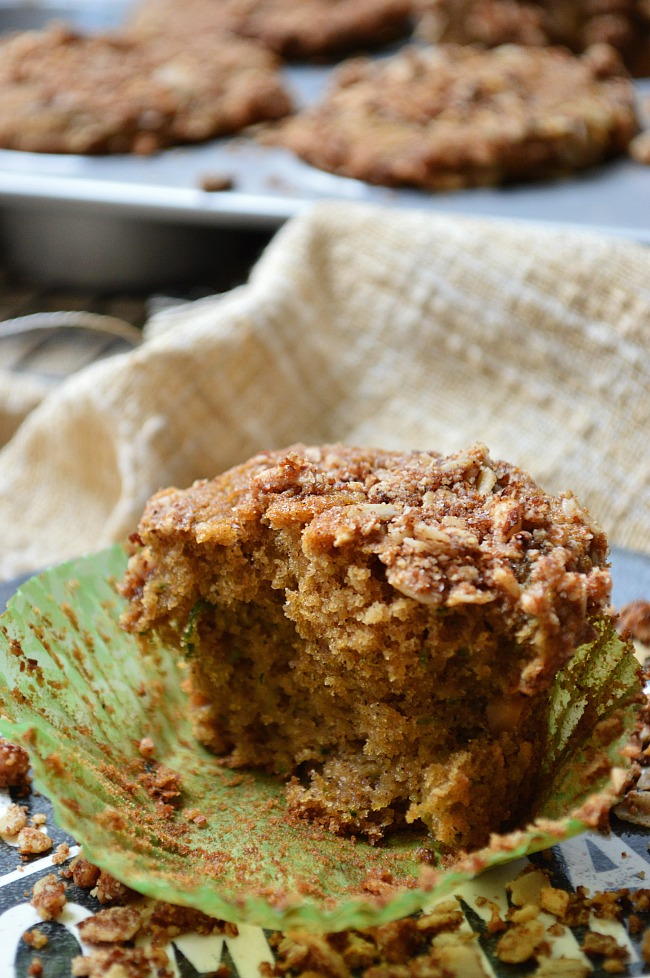 ... these Gluten Free Zucchini Breakfast Muffins with Almond Oat Streusel