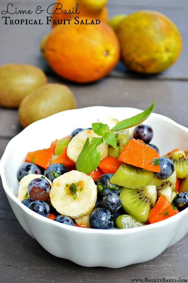 Summer or not, this Lime and Basil Tropical Fruit Salad is sure to ...